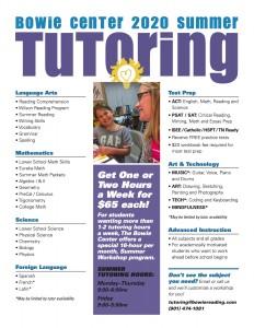 2020 Summer Tutoring cover